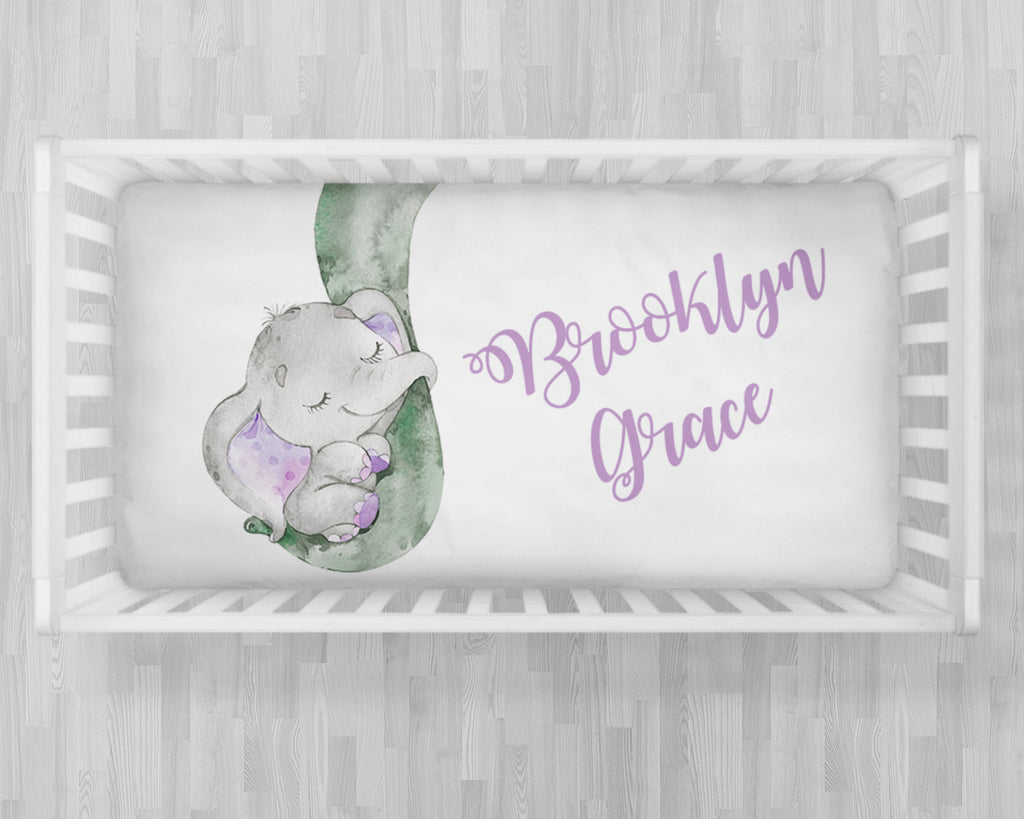 Personalized baby elephant crib sheet, elephant baby crib bedding, baby crib gift, crib sheet with name, baby girl or boy crib sheet