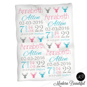 Deer antler baby girl stats blanket, blue and pink, antler girl baby blanket, personalized deer baby blanket, baby stats blanket, boy or girl stats swaddle blanket, baby shower gift, choose colors