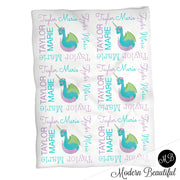 Baby girl dragon name blanket, purple and teal dragicorn swaddling blankets, baby girl dragon blanket, dragon girl blanket, dragon baby shower gift, (CHOOSE COLORS)