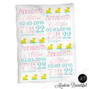 Rubber duck baby girl stats blanket, blue and pink, duck girl baby blanket, personalized rubber ducky baby blanket, baby stats blanket, boy or girl stats swaddle blanket, baby shower gift, choose colors