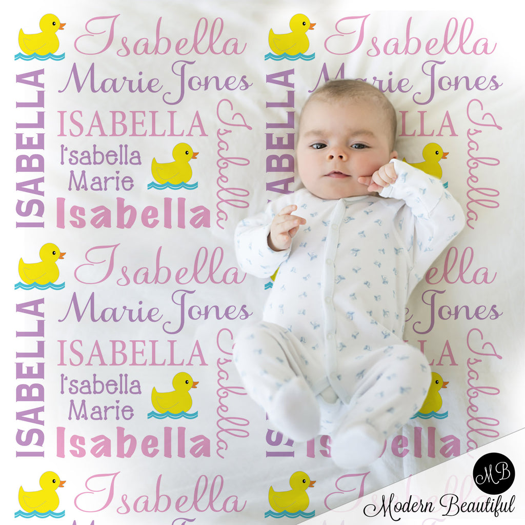 Ducky girl baby name blanket