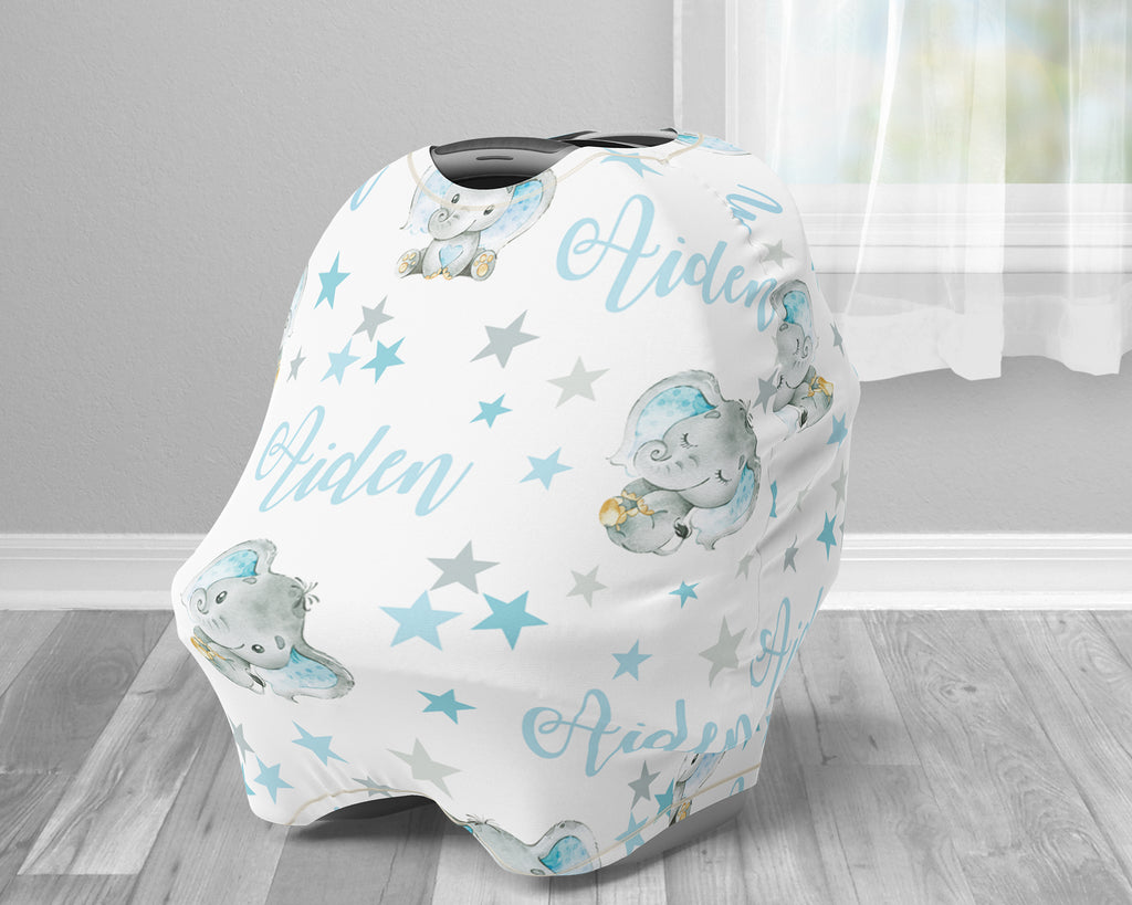 Stars and elephant baby boy car seat canopy cover, elephant baby gift, blue and gray elephant custom infant car seat cover, personalized baby name carseat cover, nursing privacy cover, shopping cart cover, high chair cover (CHOOSE COLORS)