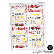 Firetruck baby boy stats blanket, yellow and red, fire fighter boy baby blanket, personalized boy or girl stats swaddle blanket, baby shower gift, choose colors