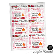 Baby girl firetruck name blanket, pink, red and black fireman swaddling blankets, baby girl firefighter blanket, girl firetruck blanket, firetruck baby shower gift, (CHOOSE COLORS)