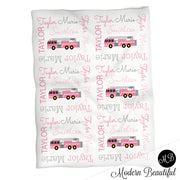 Baby girl firetruck name blanket, pink and gray fireman swaddling blankets, baby girl firefighter blanket, girl firetruck blanket, firetruck baby shower gift, (CHOOSE COLORS)