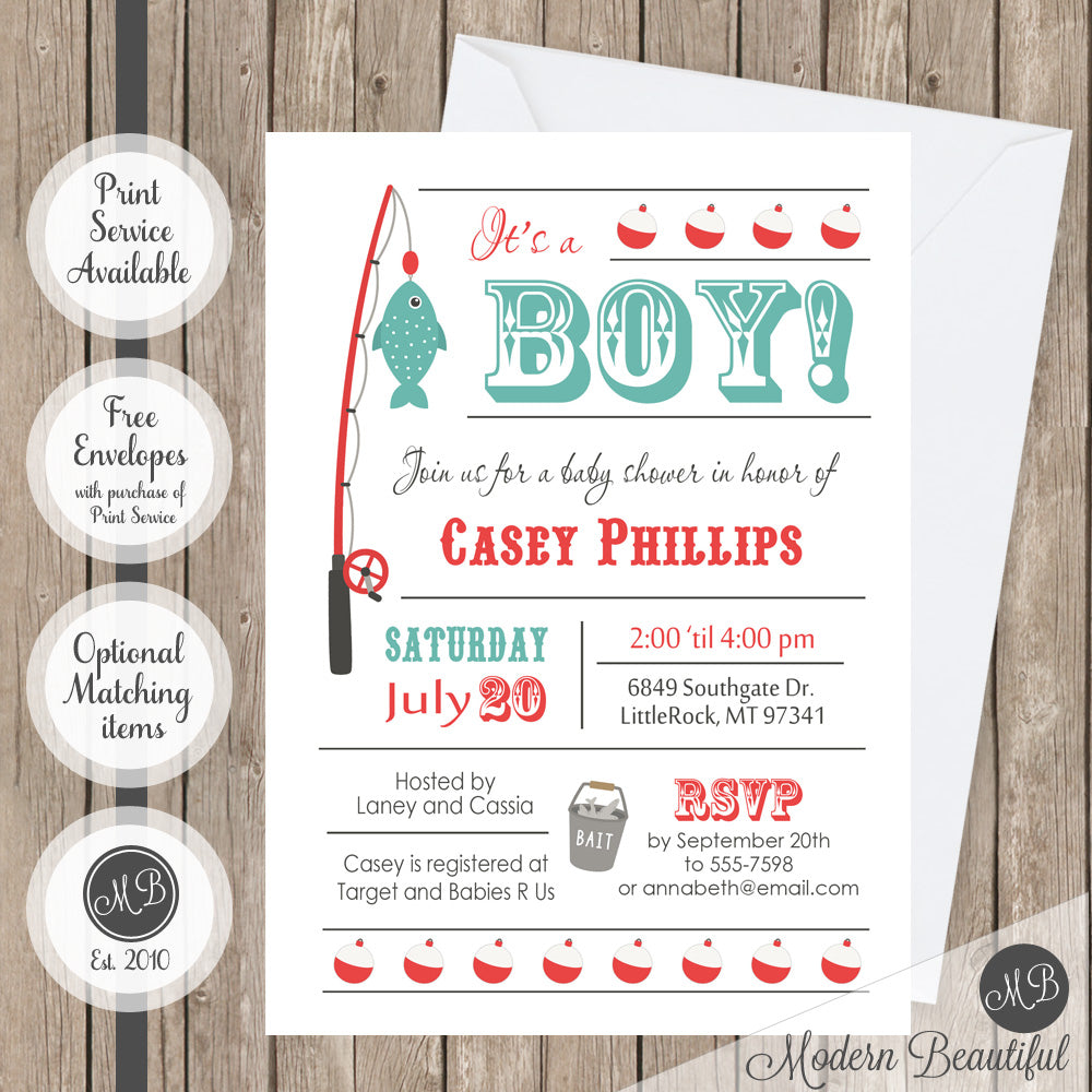 High Quality Baby Boy Fishing Baby Shower Invitation