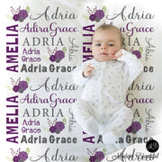 Chic flower baby name blanket in purple and gray