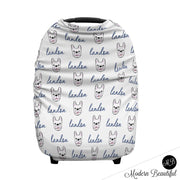 French bulldog baby boy or girl car seat canopy cover, blue and gray custom infant car seat cover, personalized baby name carseat cover, nursing privacy cover (CHOOSE COLORS)