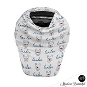 French bulldog baby boy or girl car seat canopy cover