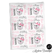 French bulldog name blanket in black and pink, bulldog swaddling blanket, baby girl frenchie blanket, bulldogs blanket, bulldog baby shower gift, (CHOOSE COLORS)