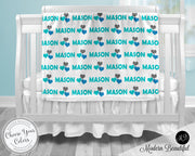 Heart baby boy blanket, blue and gray hearts name blanket, custom heart personalized baby gift, swaddle baby blanket, personalized blanket, boy or girl blanket, choose colors