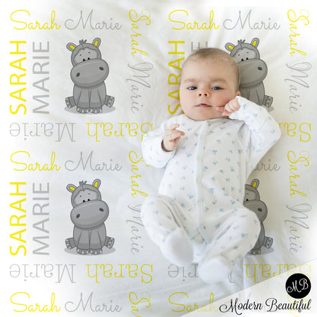 Hippo girl baby name blanket, hippo personalized blanket, yellow and gray, boy or girl blanket, baby shower gift, personalized name blanket, (CHOOSE COLORS)
