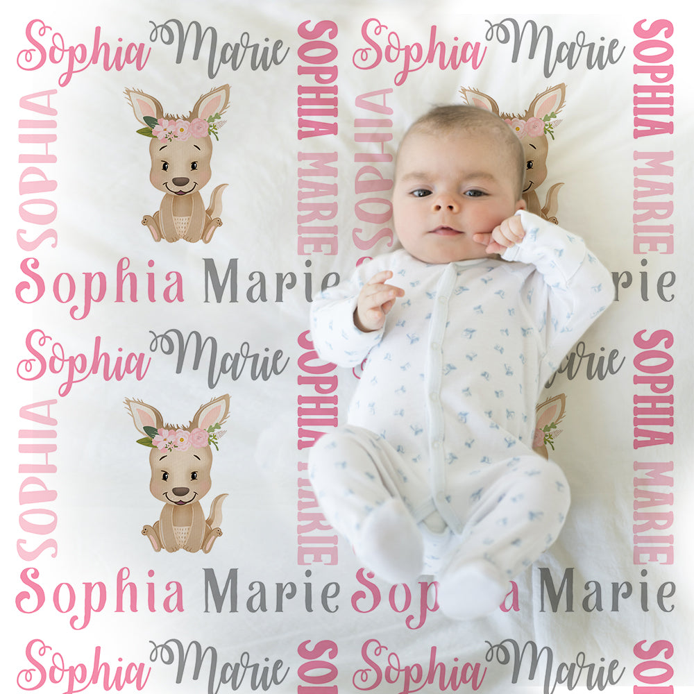 Pretty baby girl kangaroo blanket, pink and gray name blanket, kangaroo swaddling blanket, kangaroo baby gift, girl baby shower gift, choose colors