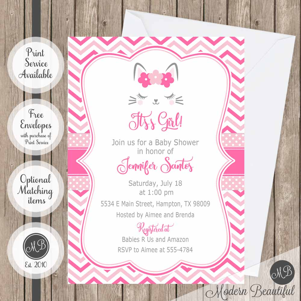 Gray and pink kitty baby shower invitation, girl kitty cat lashes ...