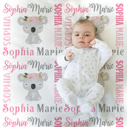 Baby girl koala bear name blanket in pink and gray, personalized girl koala baby gift, koala theme blanket, girl name blanket, personalized blanket, (CHOOSE COLORS)