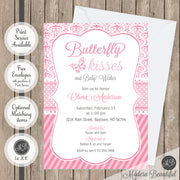 Pink and gray butterfly kisses baby shower invitation, butterfly kisses and baby wishes baby shower invitation, damask baby shower invitation, girl baby shower invitation