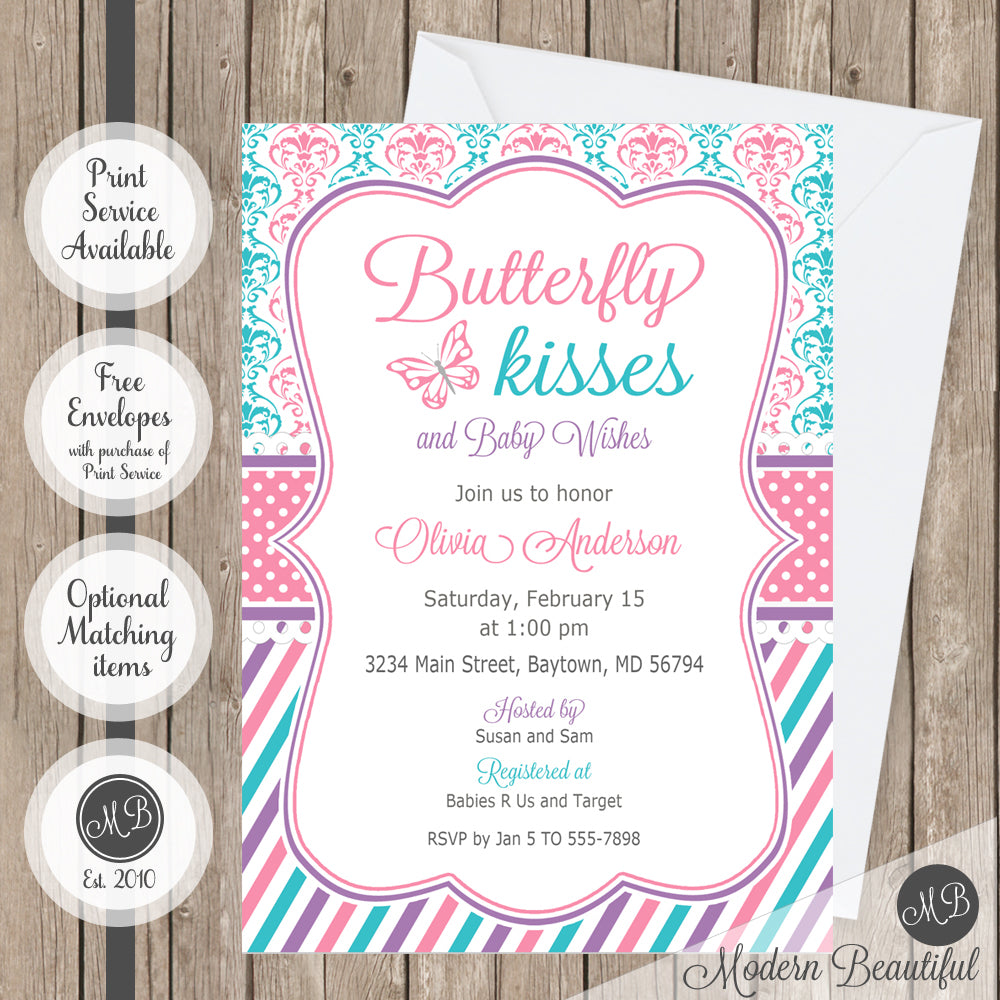 pink purple and teal butterfly kisses baby shower invitation
