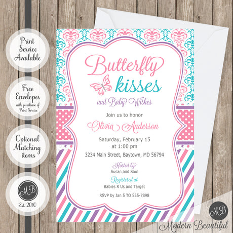 pink purple and teal baby shower invitation