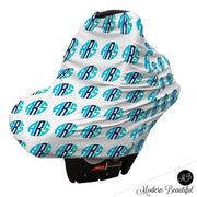 Aqua and black monogram baby boy or girl car seat canopy cover, custom monogram infant car seat cover, personalized baby name carseat cover, nursing privacy cover (CHOOSE COLORS)