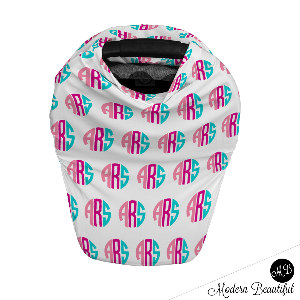 Hot pink and aqua monogram baby boy or girl car seat canopy cover