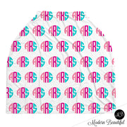 Hot pink and aqua monogram baby boy or girl car seat canopy cover, custom monogram infant car seat cover, personalized baby name carseat cover, nursing privacy cover (CHOOSE COLORS)