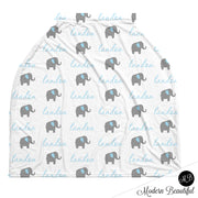 Elephant baby boy or girl car seat canopy cover, blue and gray custom infant car seat cover, personalized baby name carseat cover, nursing privacy cover (CHOOSE COLORS)