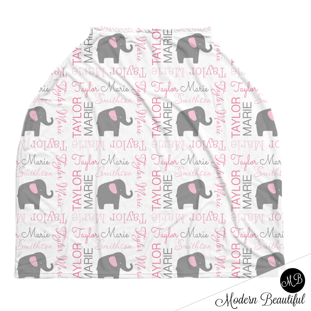 Stretchy Car seat Cover Personalized Elephant Car Seat Canopy Boy Carseat Canopy Custom Nursing Cover Personalized Carseat 4 in 1 Cover