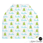 Frog baby boy or girl car seat canopy covers, frog baby gift, blue and green, custom infant car seat cover, personalized baby name carseat cover, nursing privacy cover, shopping cart cover, high chair cover (CHOOSE COLORS)