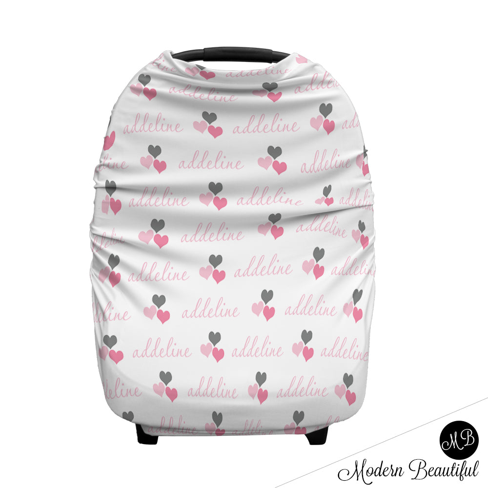 Pink And Gray Hearts Baby Girl Or Boy Car Seat Canopy Cover Custom