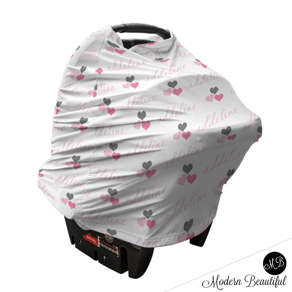 Pink And Gray Hearts Baby Girl Or Boy Car Seat Canopy Cover