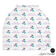 Purple and aqua hearts baby girl or boy car seat canopy cover, custom purple and aqua infant car seat cover, personalized baby name carseat cover, nursing privacy cover (CHOOSE COLORS)
