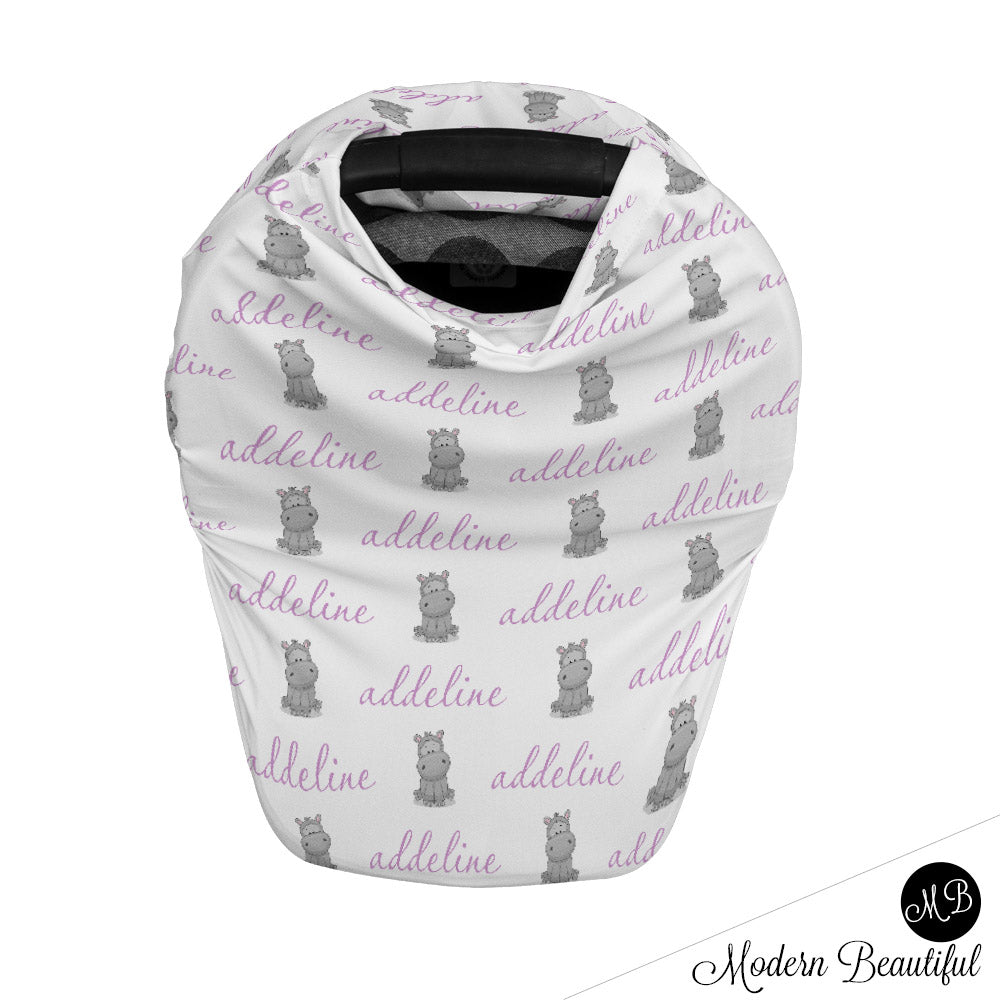 Hippo Baby Boy Or Girl Car Seat Canopy Covers Hippo Baby Gift Purple Modern Beautiful