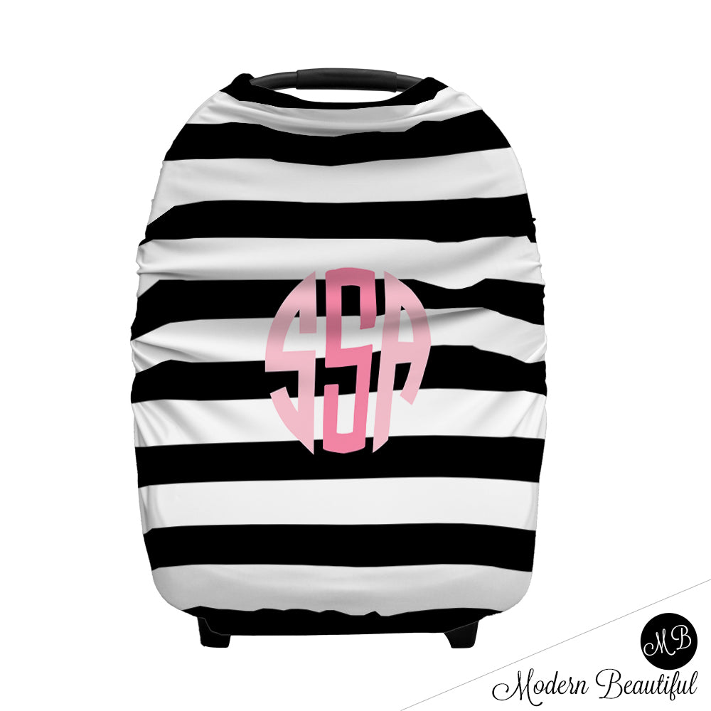 Black And White Stripe Monogram Baby Girl Or Boy Car Seat Canopy