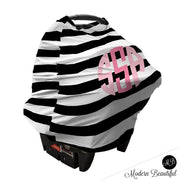 Black and white stripe monogram baby girl or boy car seat canopy cover, custom monogram infant car seat cover, personalized baby name carseat cover, nursing privacy cover (CHOOSE COLORS)