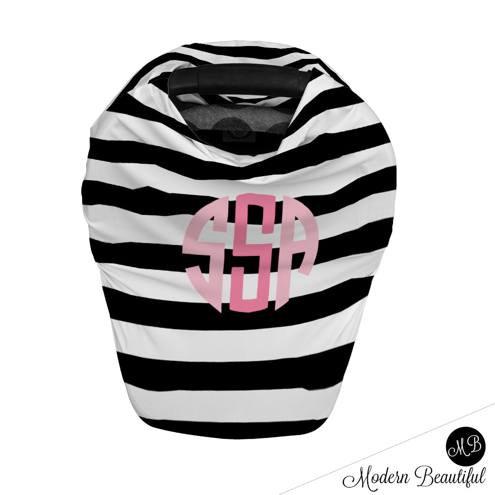 Black and white stripe monogram baby girl or boy car seat canopy cover