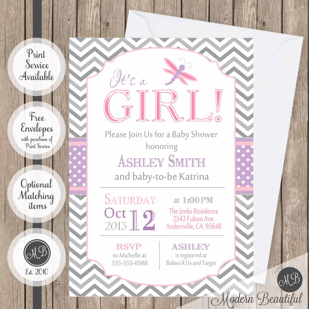 Pink purple and gray dragonfly baby shower invitation girl pink purple and gray dragonfly baby shower invitation filmwisefo