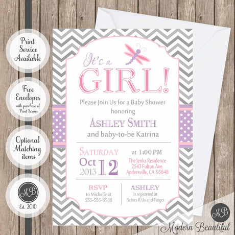 Pink purple and gray dragonfly baby shower invitation