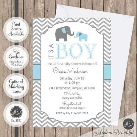 Blue and gray chevron elephant its a boy baby shower invitation