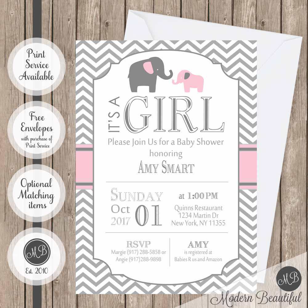 Pink and gray girl elephant baby shower invitation, elephants girl baby shower invitation, chevron baby shower invitation, girl baby shower invitation
