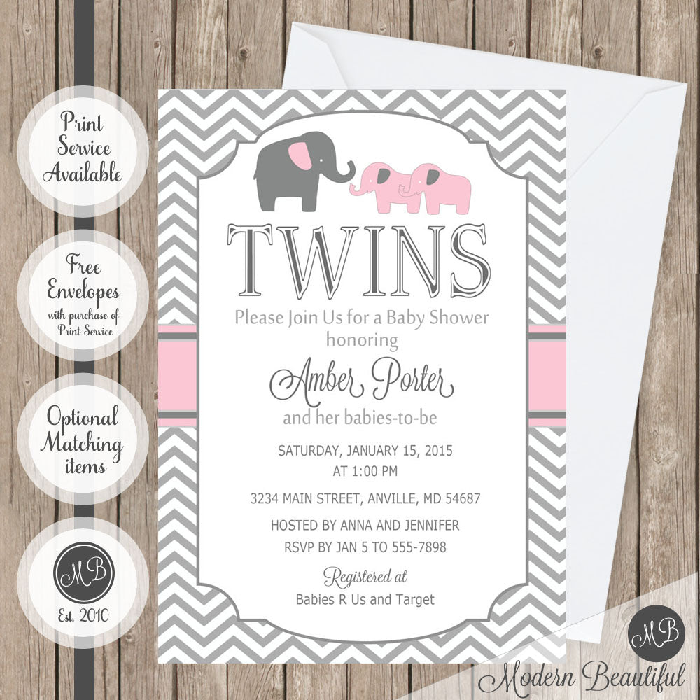 Twin Girls Baby Shower Invitation Pink Elephant Twin Baby Shower
