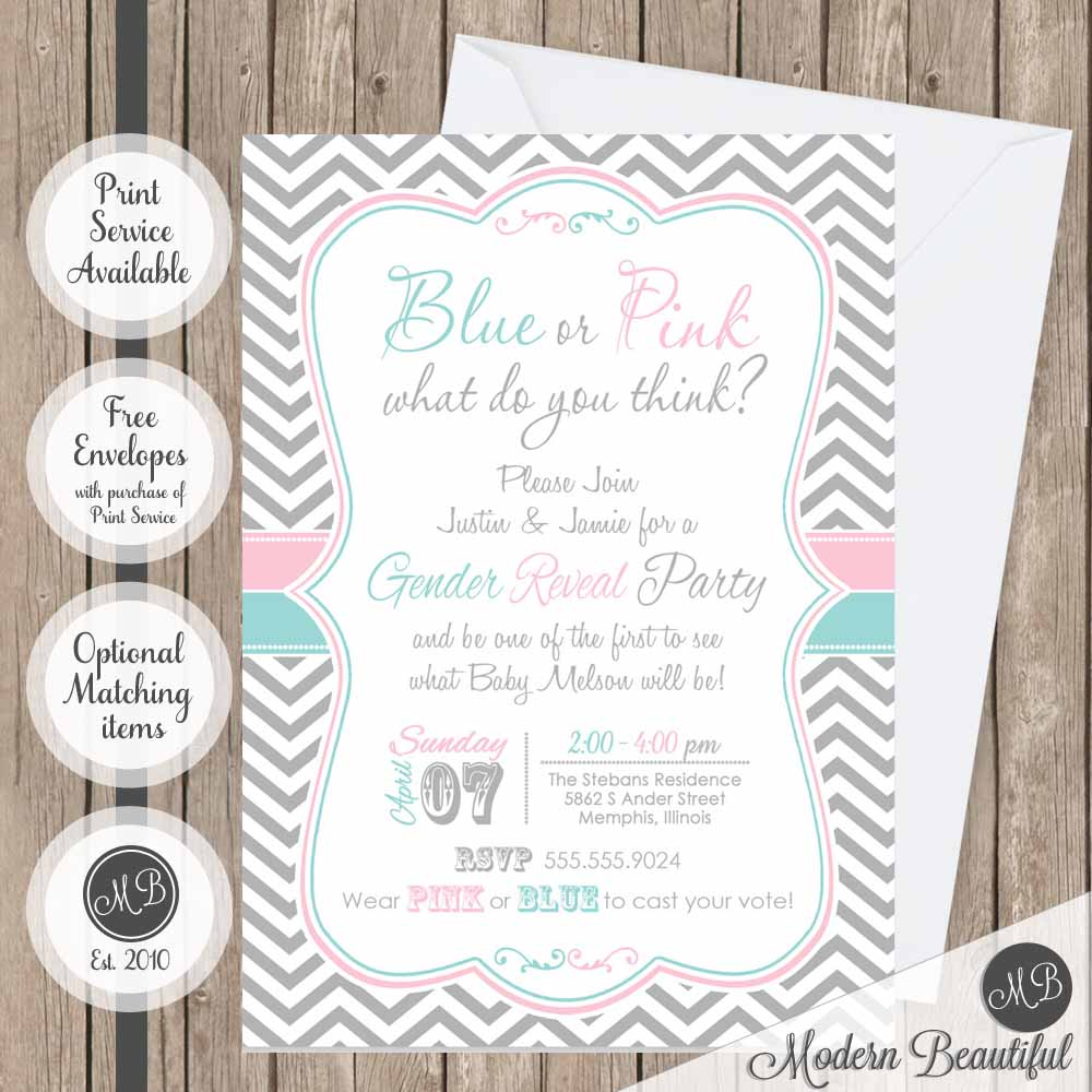 Gender Reveal Baby Shower Invitation Pink And Blue Baby Shower
