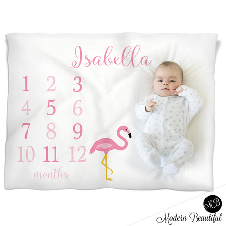 flamingo baby name blanket