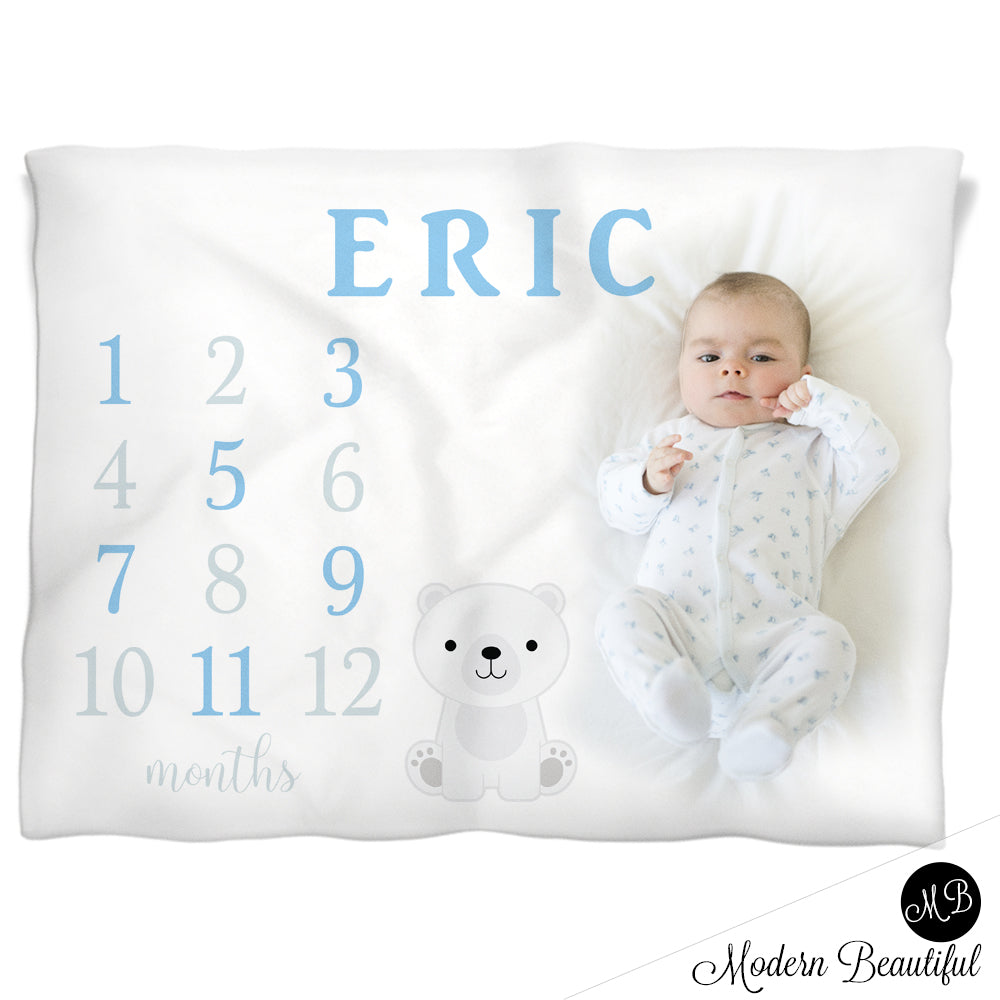 Baby boy polar bear baby blanket, polar bear baby milestone blanket, monthly milestone baby blanket, personalized growth baby gift, personalized photo prop blanket, choose your colors