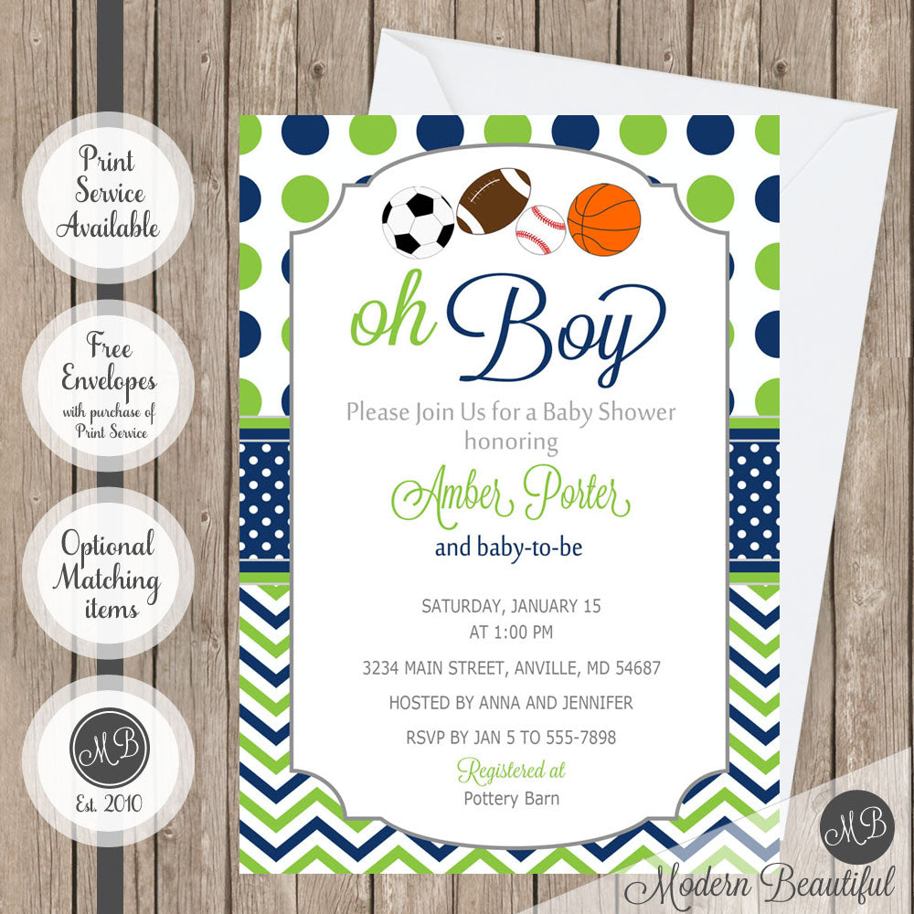 Navy and lime green baby shower invitation baby oh boy all star