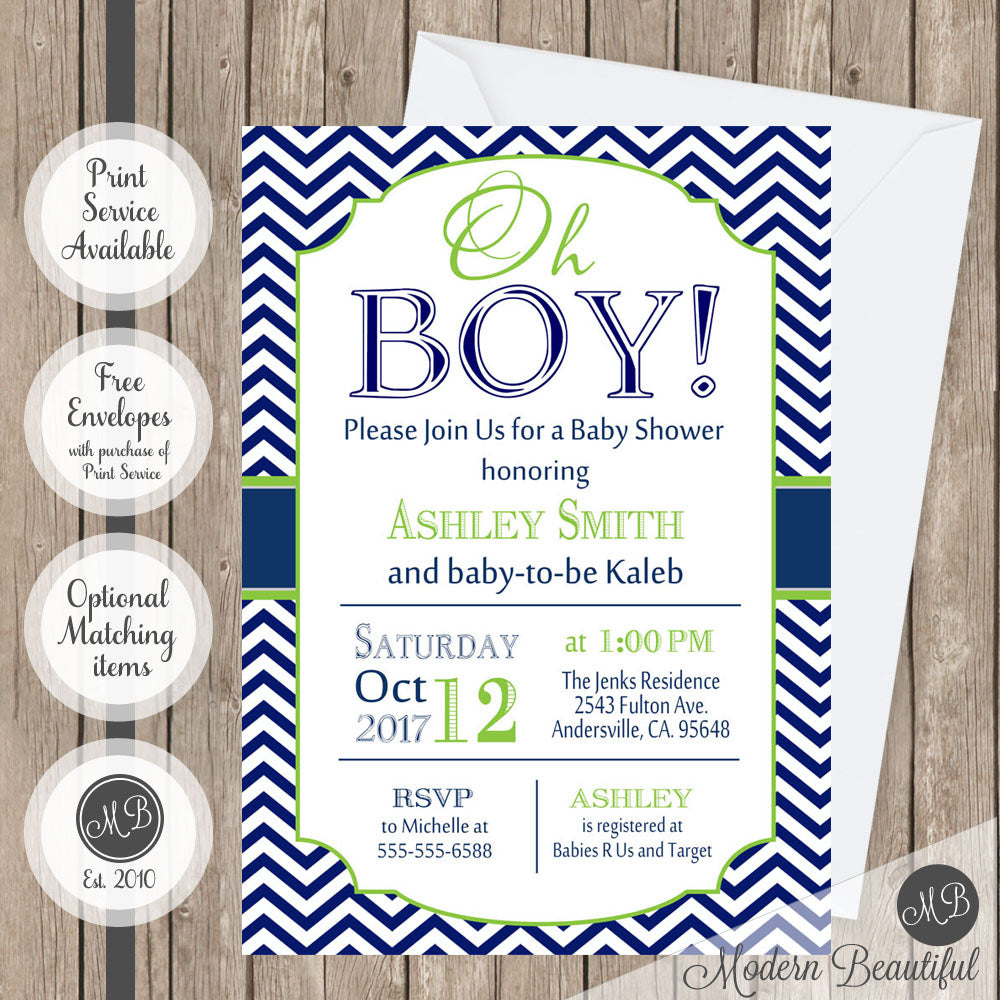 navy and lime green baby shower invitation
