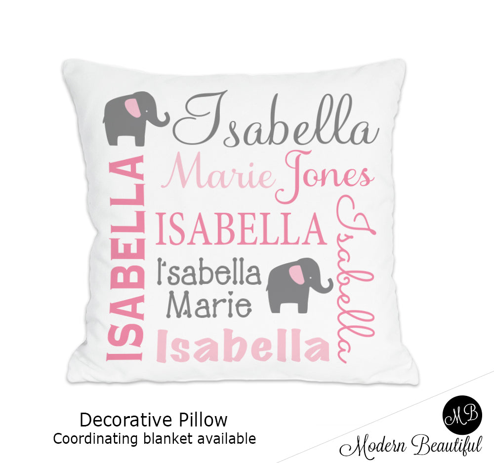 Elephant theme throw pillow cover in pink and gray , personalized baby pillow, pink and gray heart decor, baby name pillow (Choose Colors)