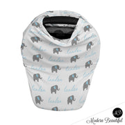 baby car seat cover with elephants