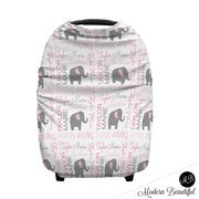 Elephant baby girl or boy car seat canopy cover, custom infant car seat cover, personalized baby name carseat cover, nursing privacy cover (CHOOSE COLORS)
