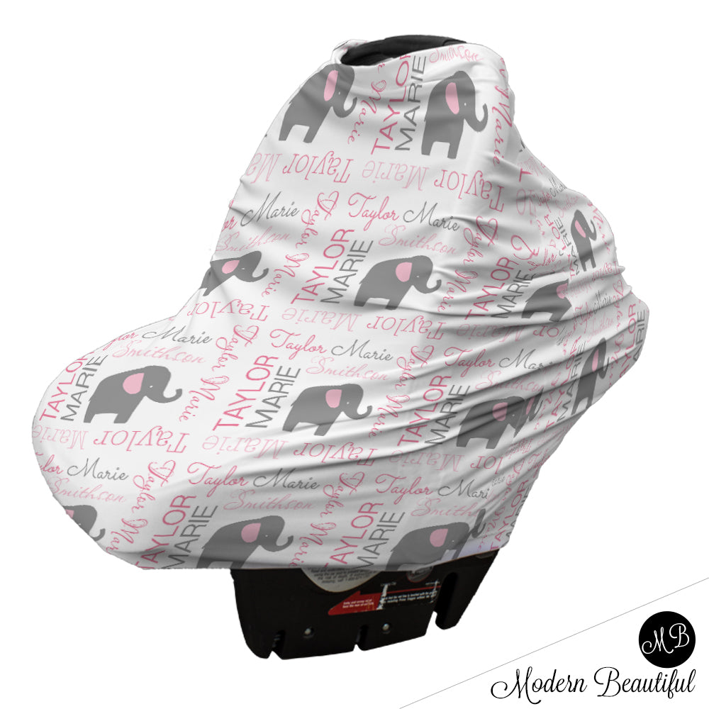 Elephant Baby Girl Or Boy Car Seat Canopy Cover Custom Infant