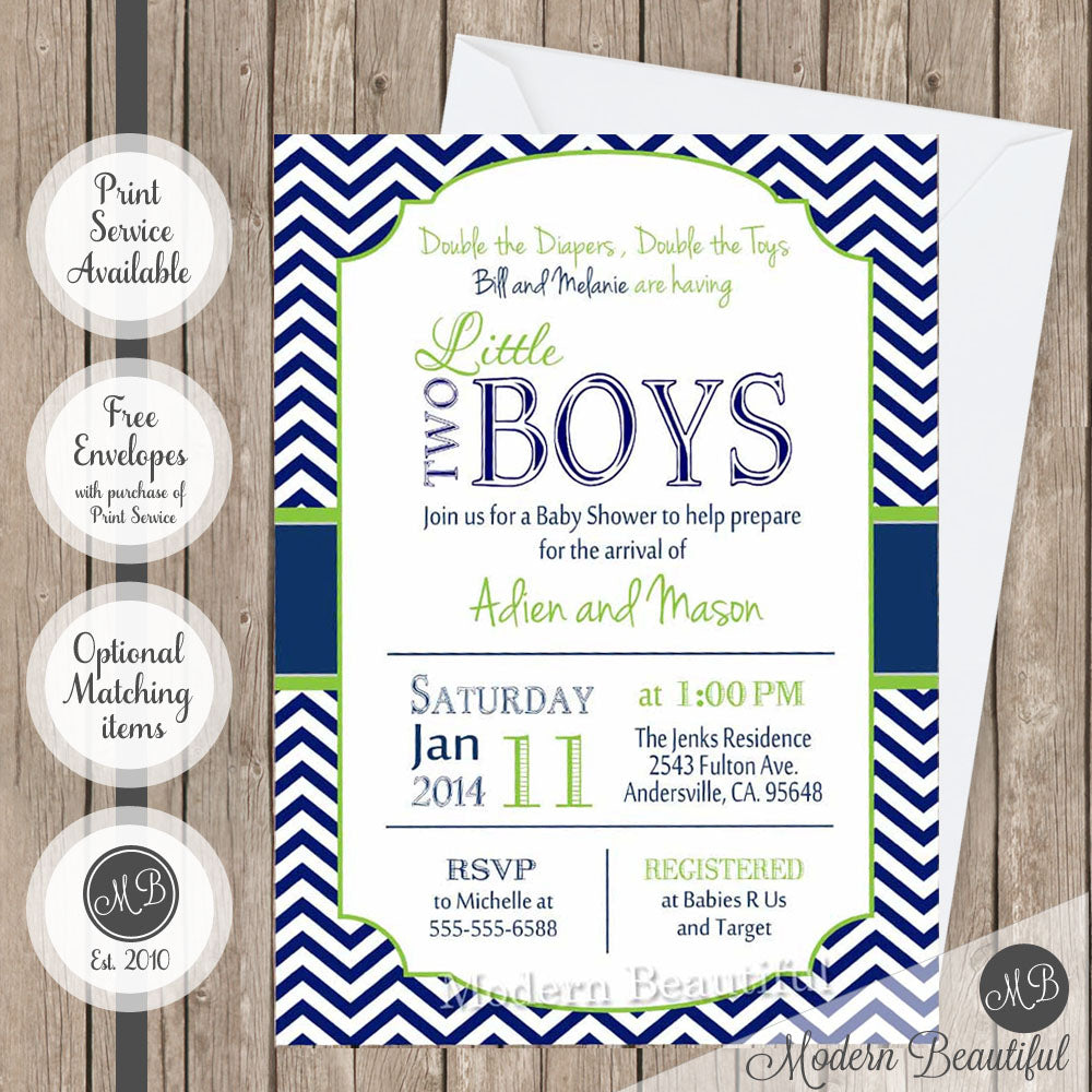 Twin boys baby shower invitation lime green and navy twin baby